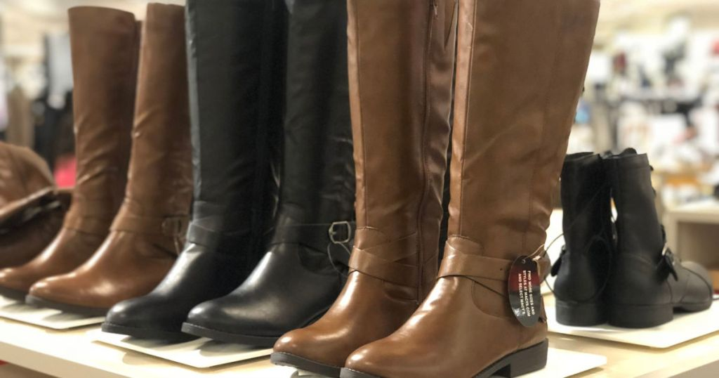 black and brown pairs of tall boots at macy's