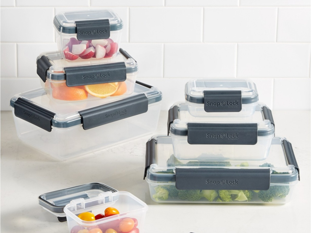 fruits and veggies in food storage containers on counter