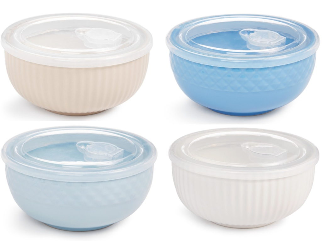 white, blue, and cream ceramic bowls with lids