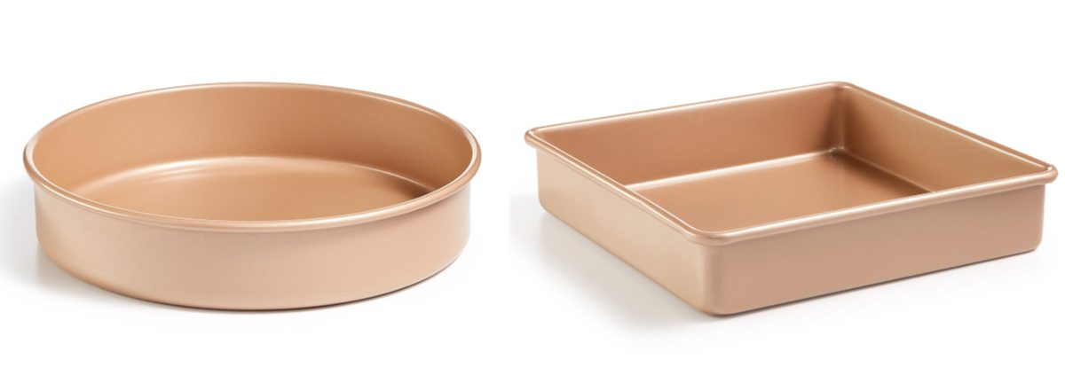 copper round and square baking pans