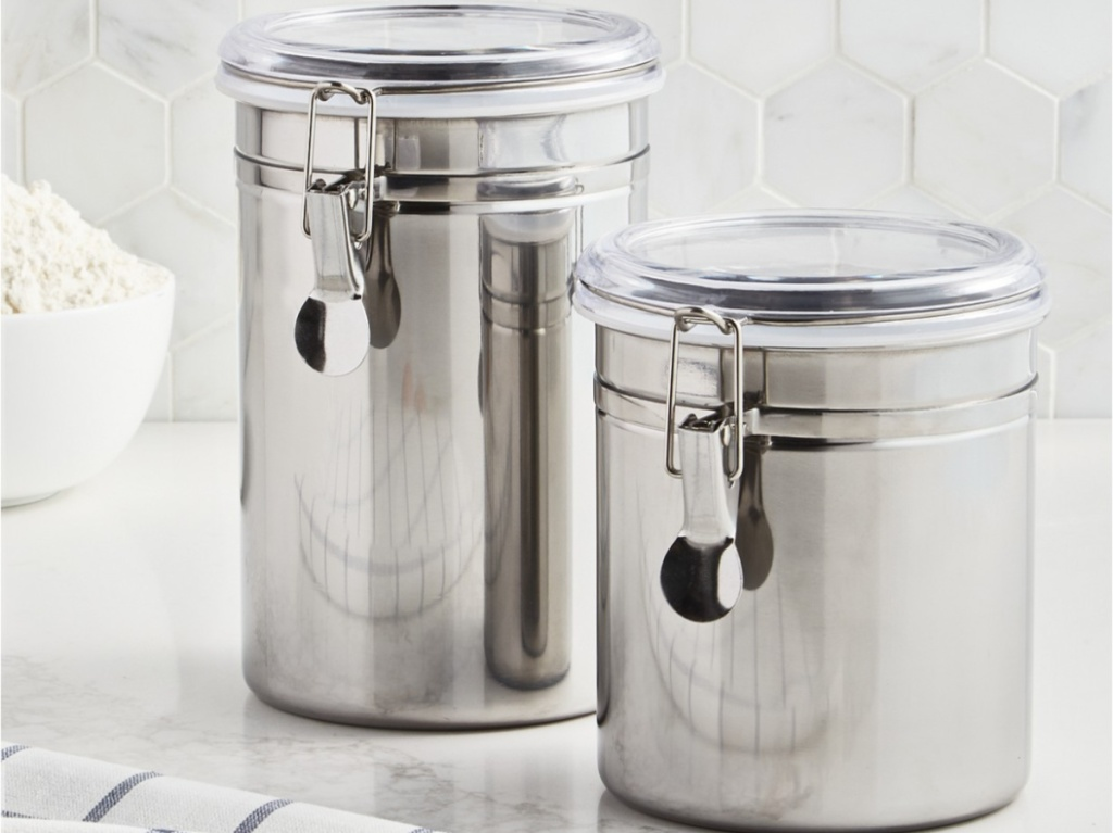 two stainless steel food storage containers on kitchen counter