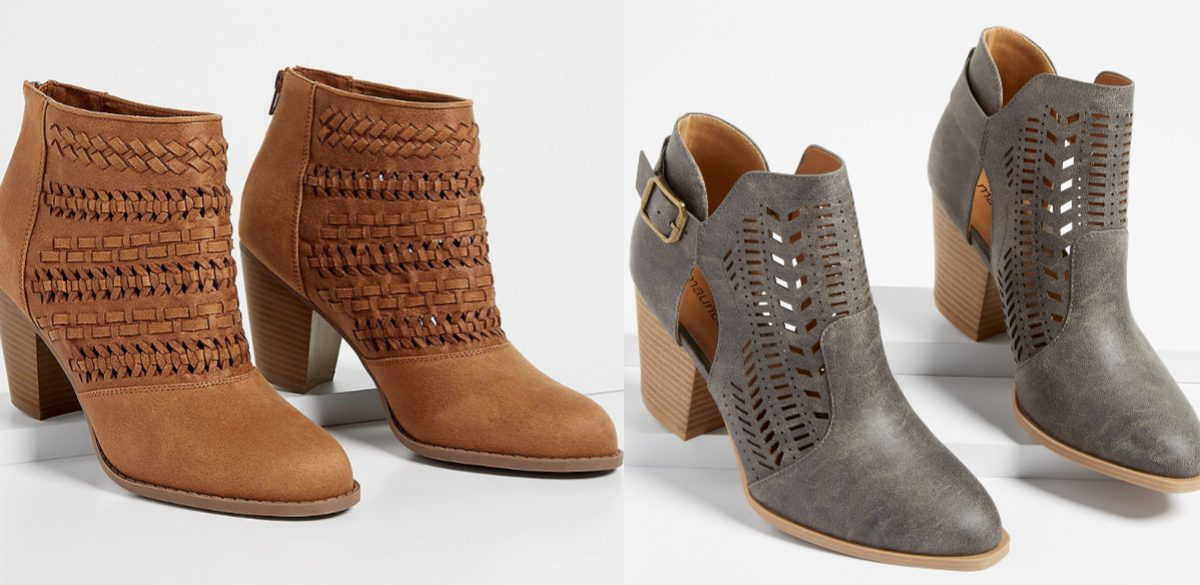 womens brown booties and grey booties