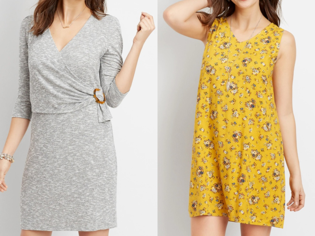 woman in grey wrap dress and woman in yellow floral dress