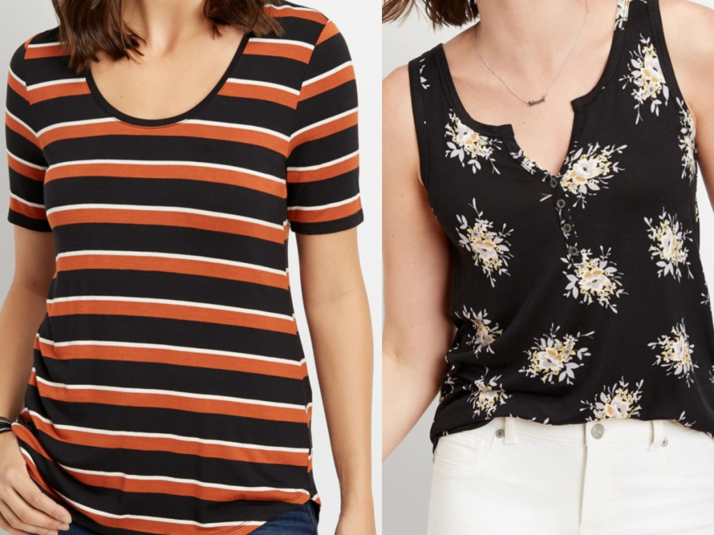 woman in striped black and red top and woman in black floral top