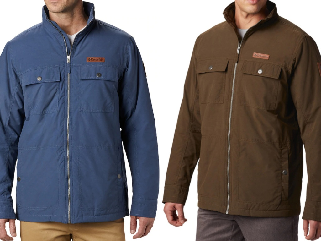 man in blue jacket and man in brown jacket