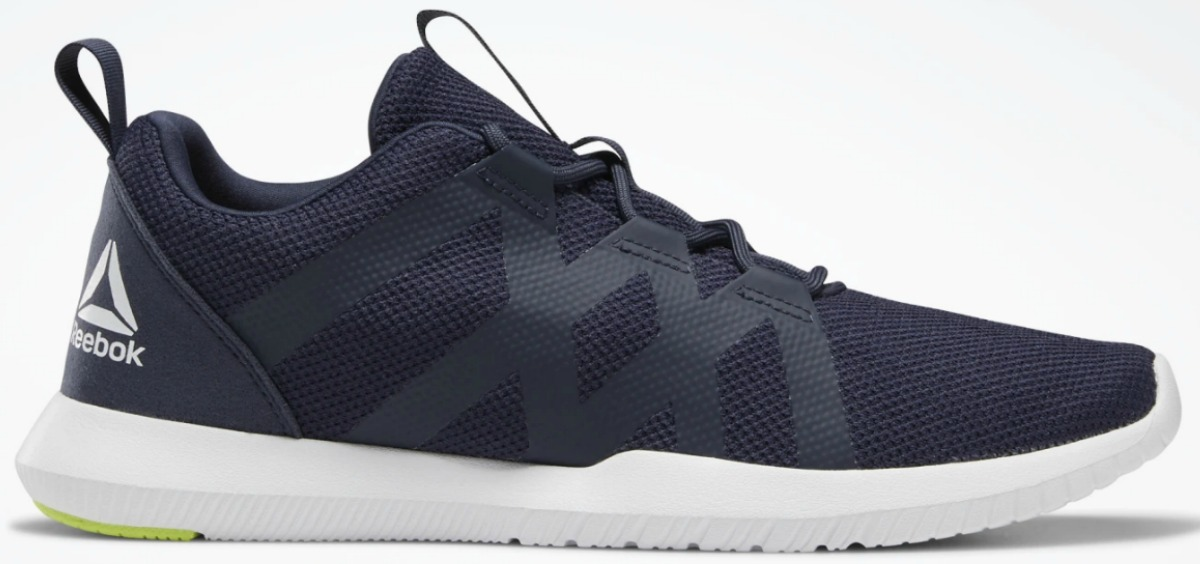 Men's dark blue athletic shoe with a white sole