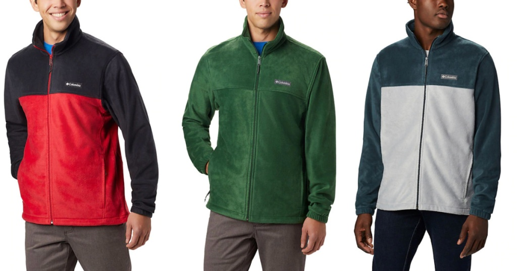 Men's Steens Mountain 2.0 Full Zip Fleece Jacket in red and black, green or grey and black