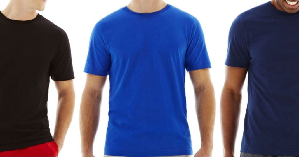 three men's torsos wearing cotton crew neck t-shirts