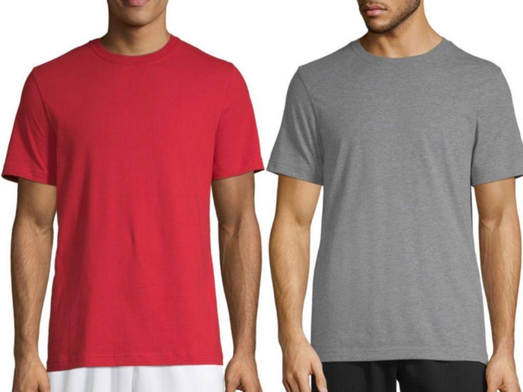 two men wearing cotton short sleeve crew neck t-shirts