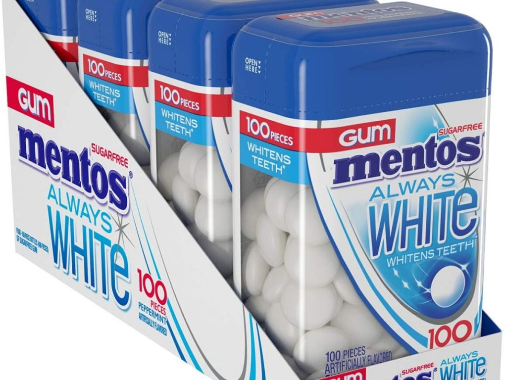 mentos always white gum 4 packs of 100 pieces each