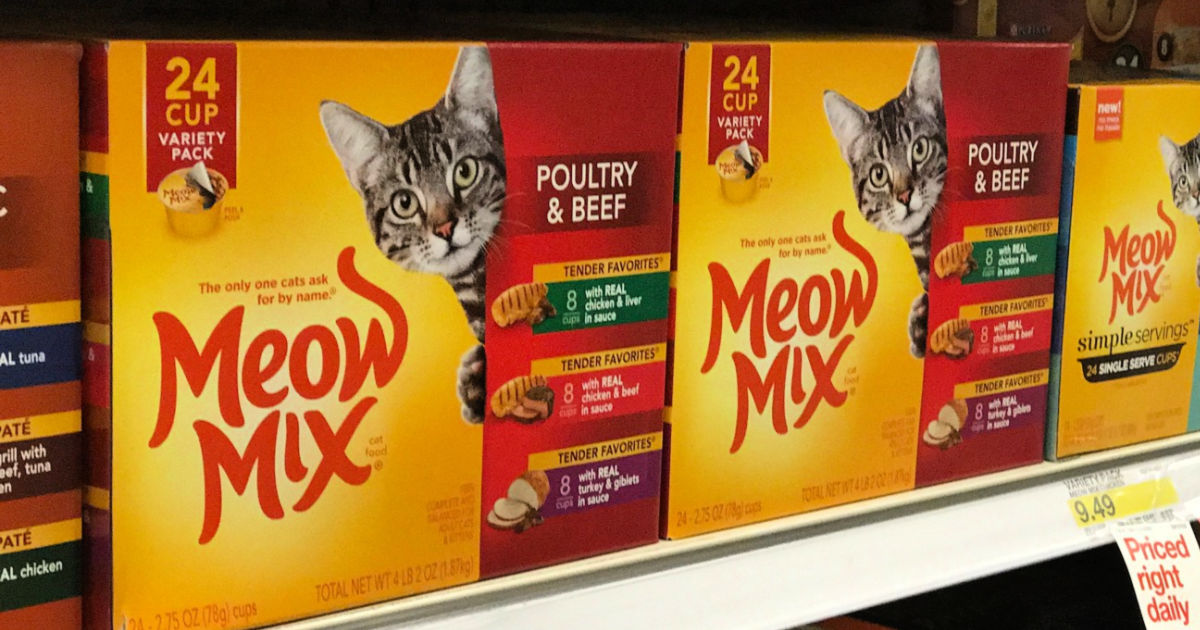 box of Meow Mix Tender Favorites Poultry & Beef 24 count
