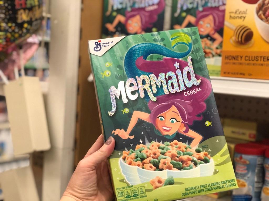 Mermaid Cereal being held up in store