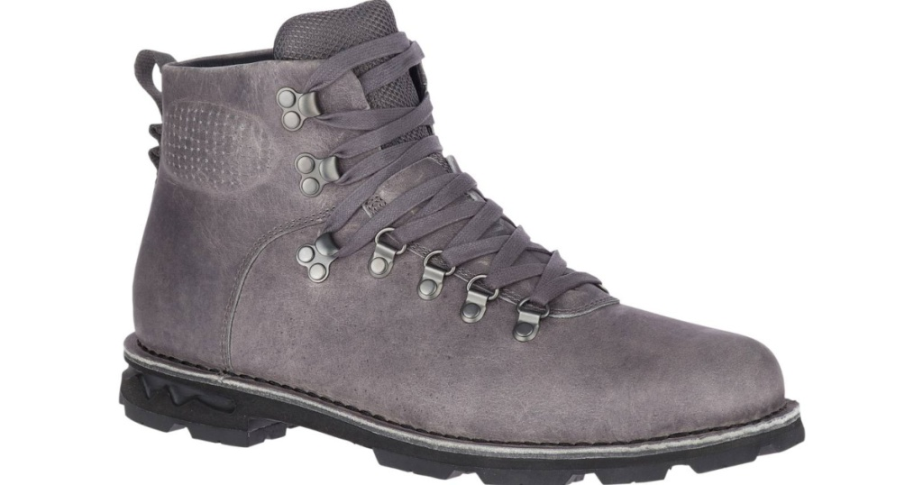 gray boots with lace up closure