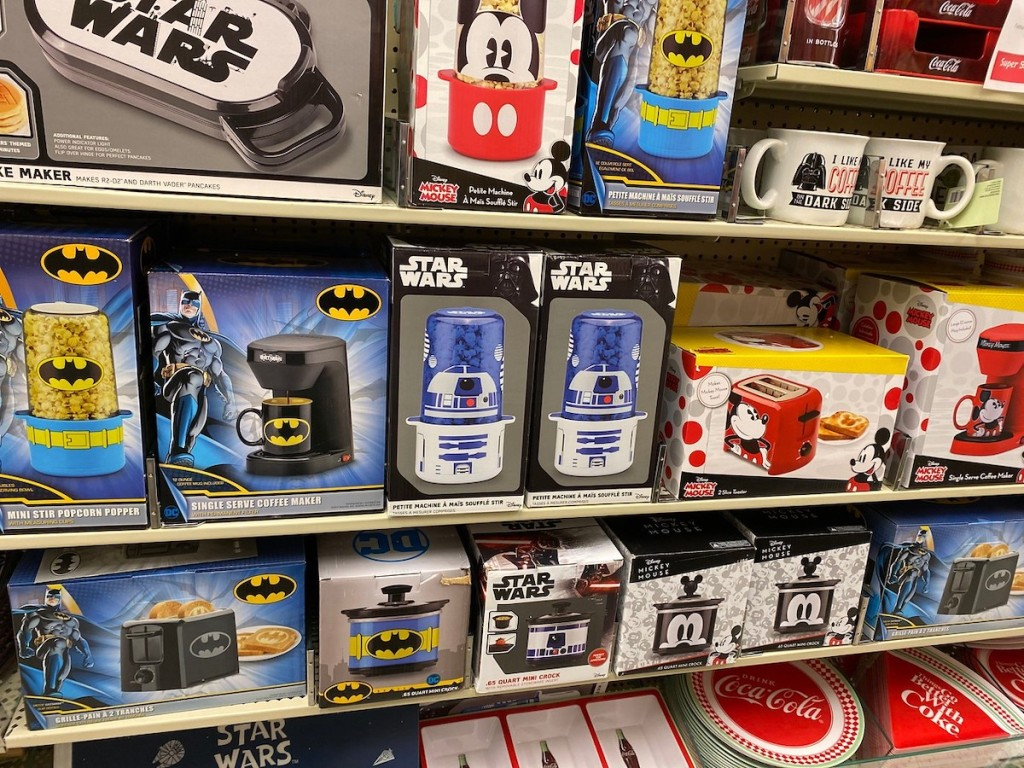 wall of mickey mouse, star wars, and batman appliances