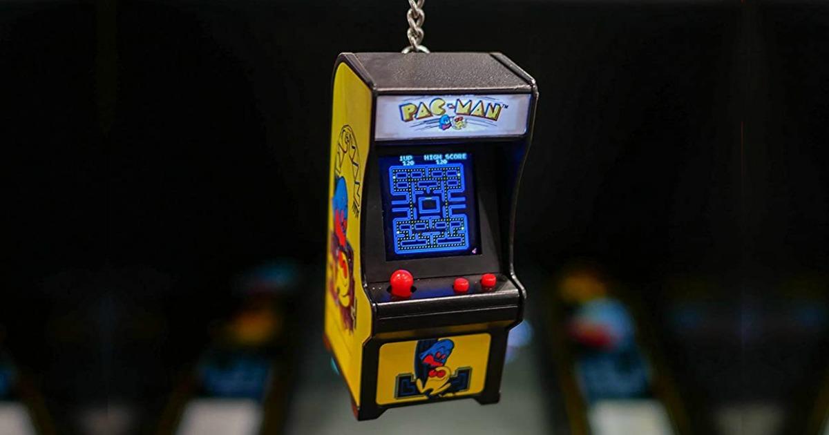 Mini PacMan arcade game on keychain