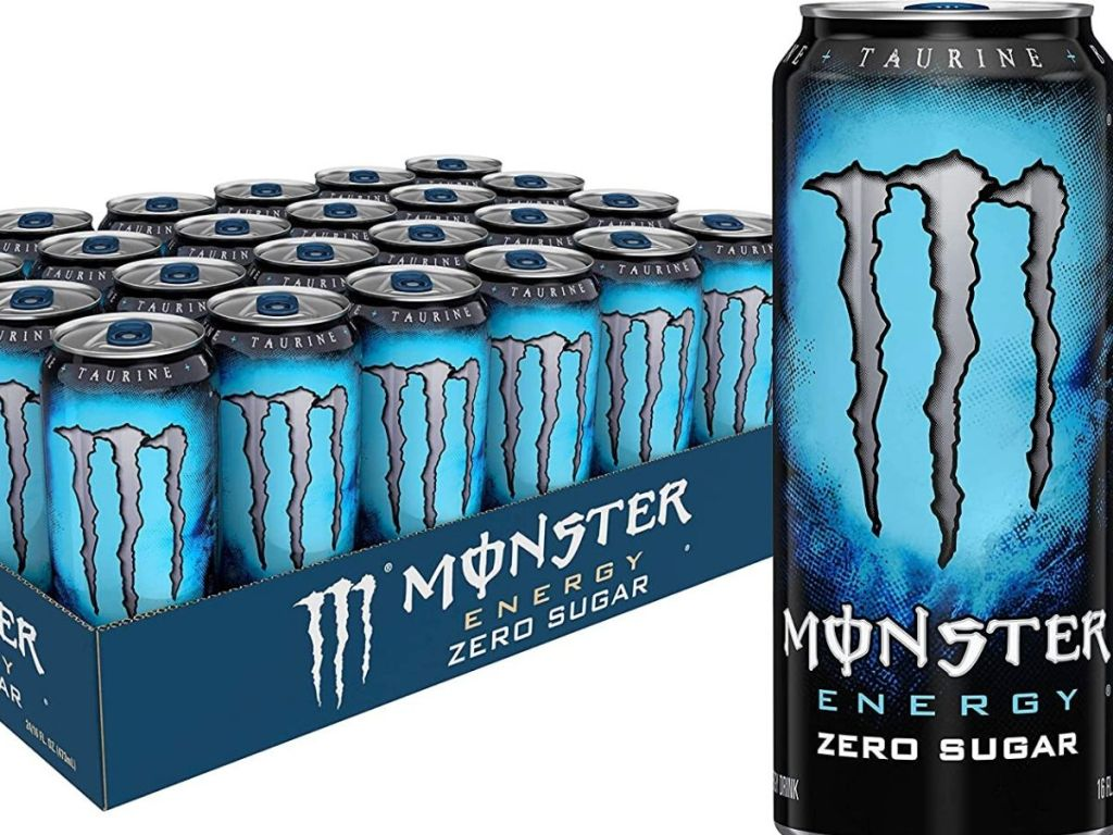 monster 24-pack energy drinks and large can next to case