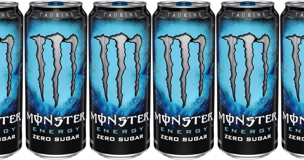 six 16-oz cans of monster zero sugar energy drink