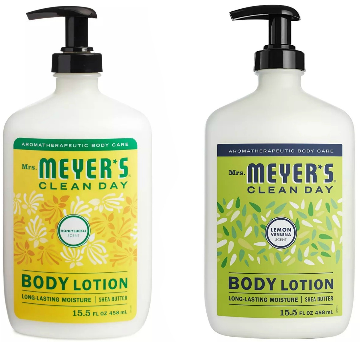 Two scents of natural body lotion in pump bottles