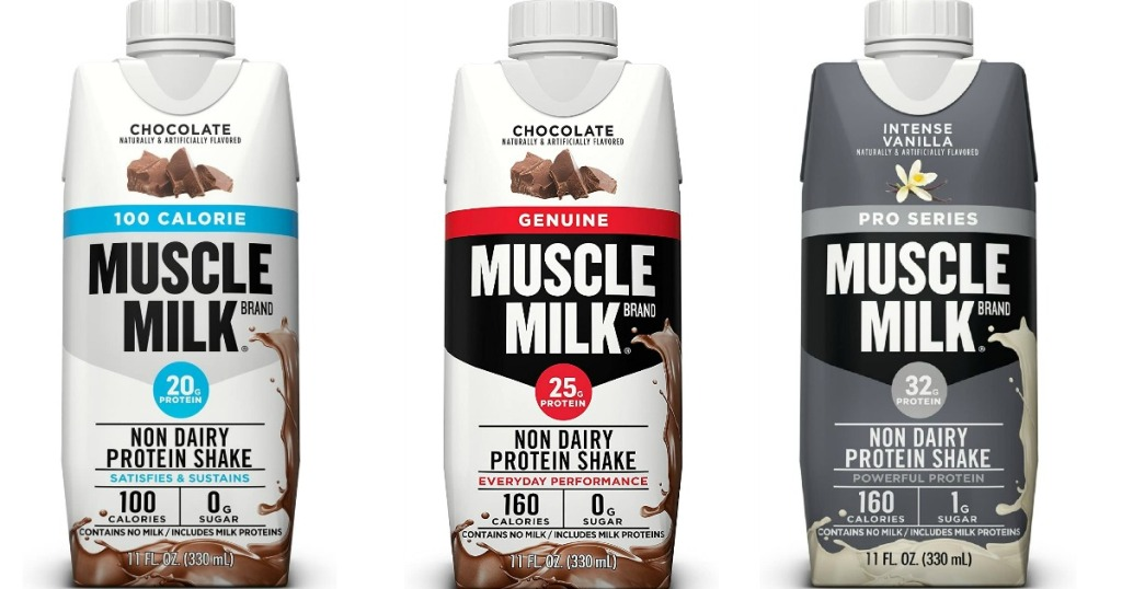 three Muscle Milk Protein Shakes