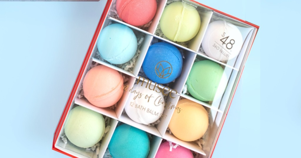 Assortment of colorful Musee Bath Bombs