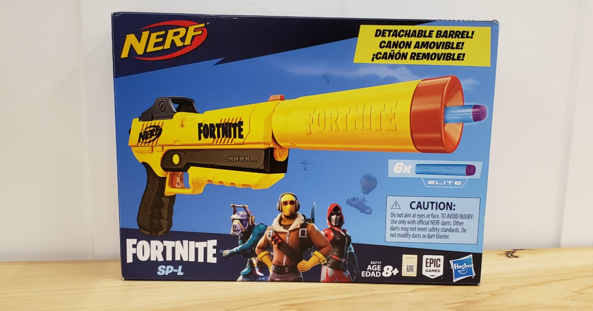 Large yellow dart gun in package in-store