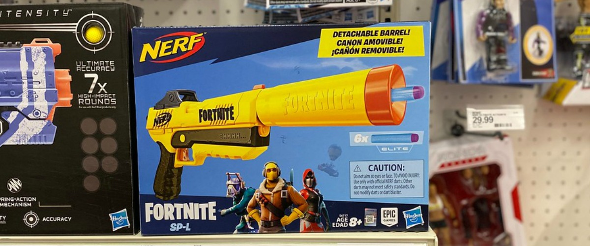 Large yellow NERF toy in package on shelf in-store