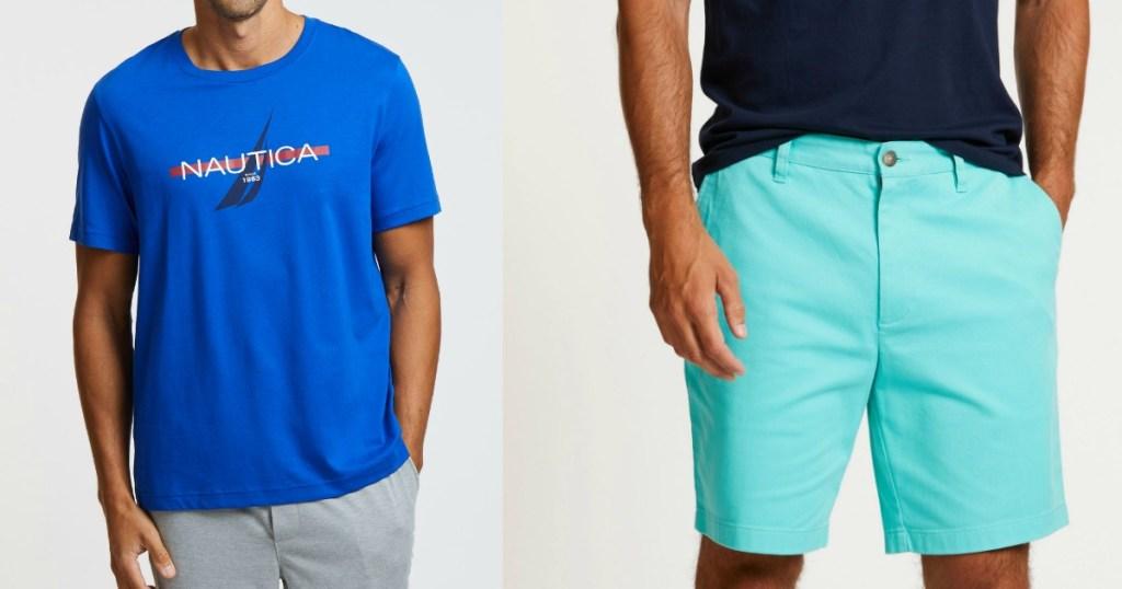 man wearing a Nautica shirt and shorts