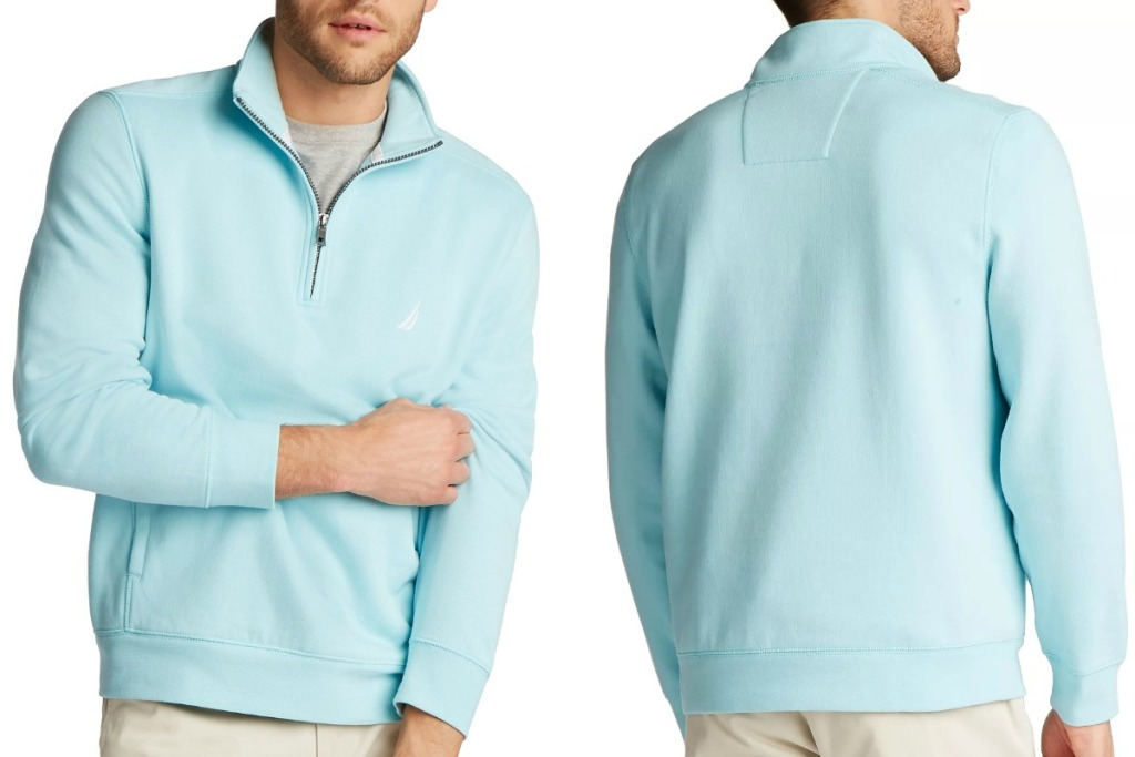 Man wearing a powder blue pullover - front and back view