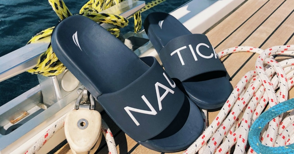 pair of sandals on a boatdeck