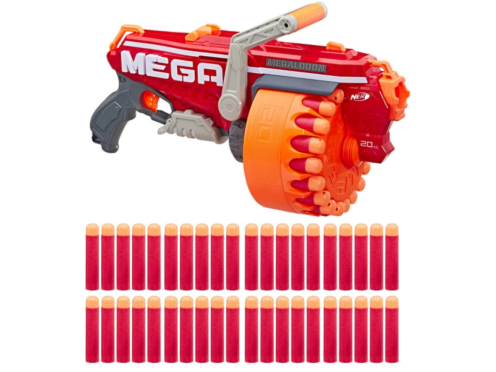 large red toy gun and darts