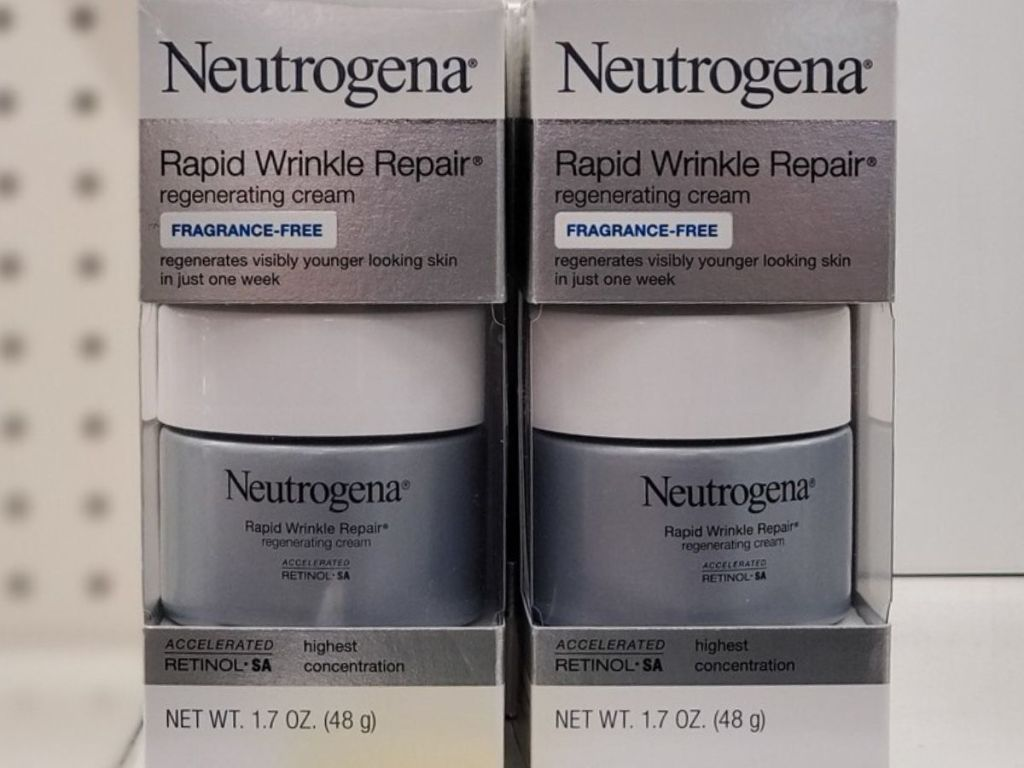 two boxes on store shelf containing wrinkle cream for the face
