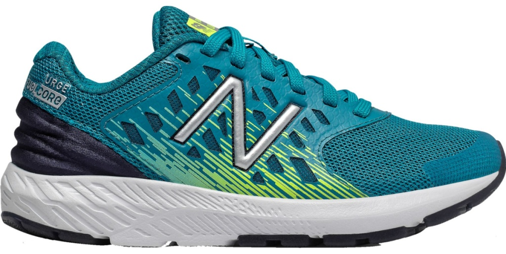 teal, navy and neon green new balance shoes