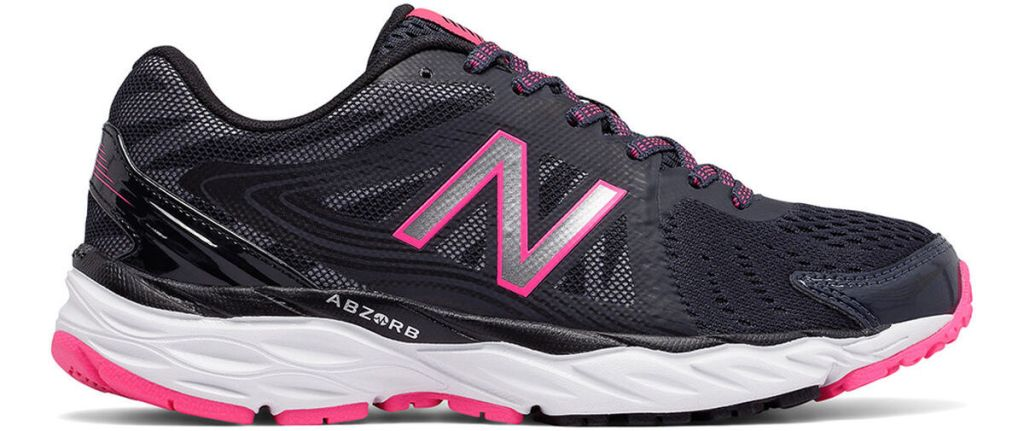 white, black and pink women's shoe