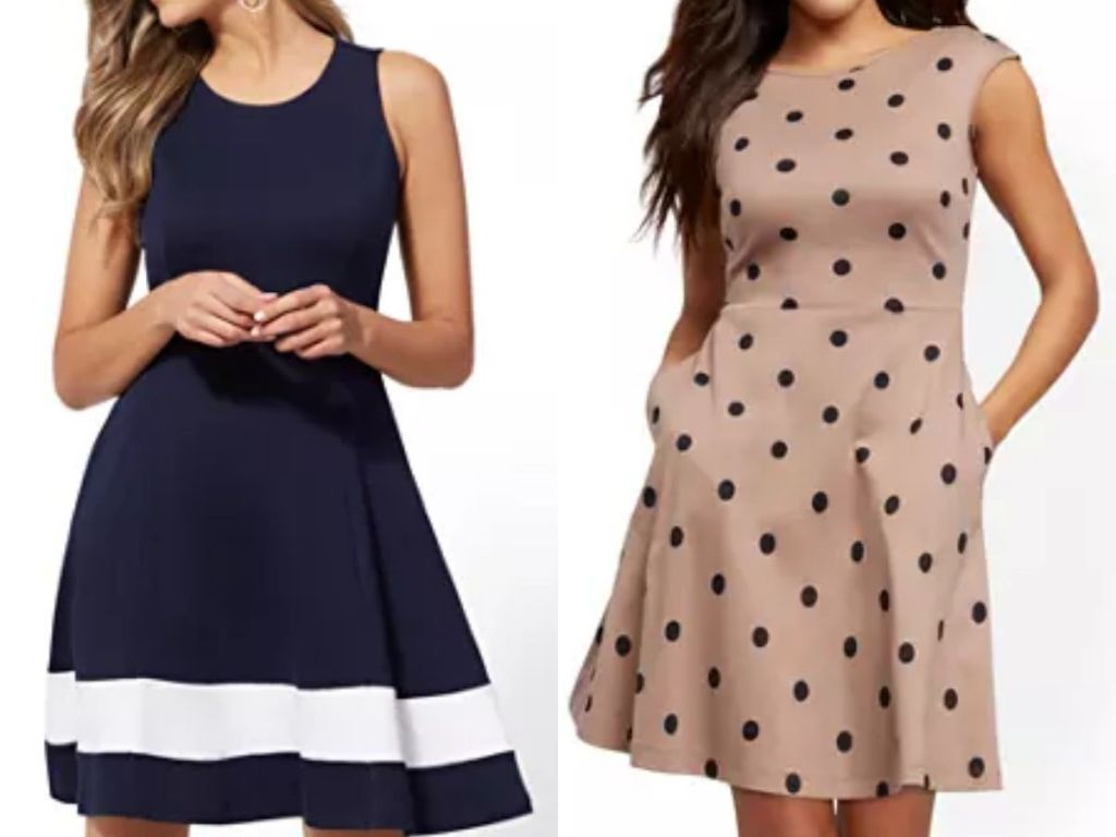 two women wearing short length sleeveless dresses