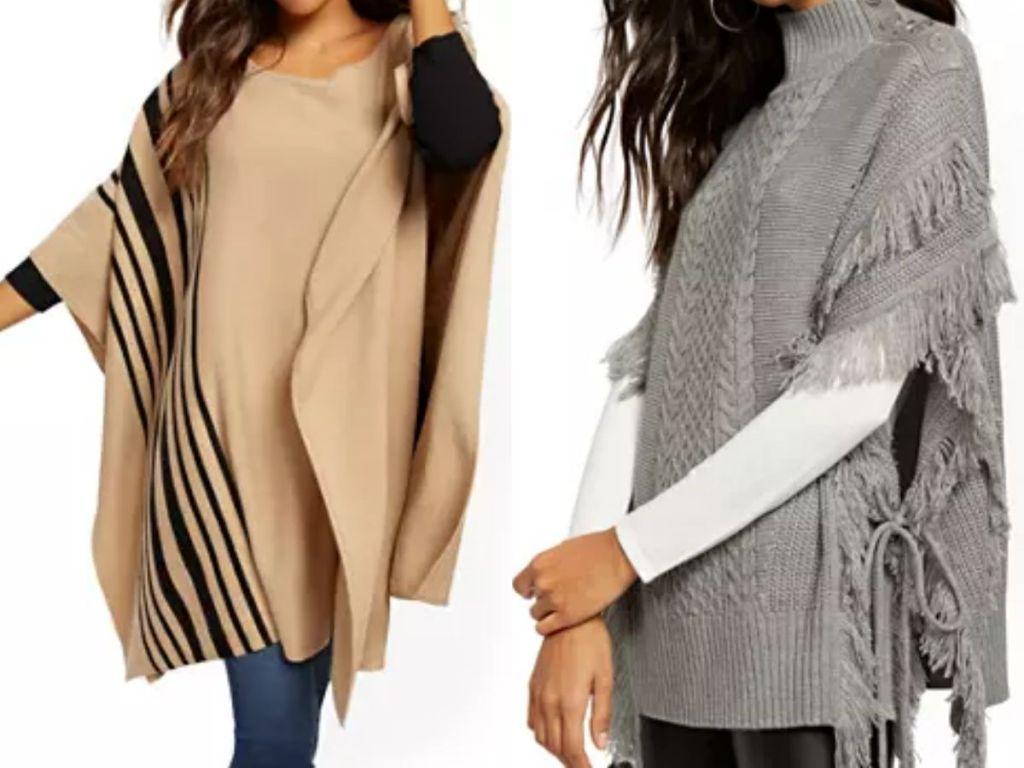 two women wearing woven ponchos