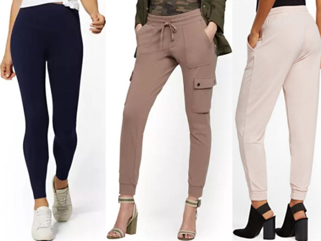 three womens lower halves wearing stretchy pants