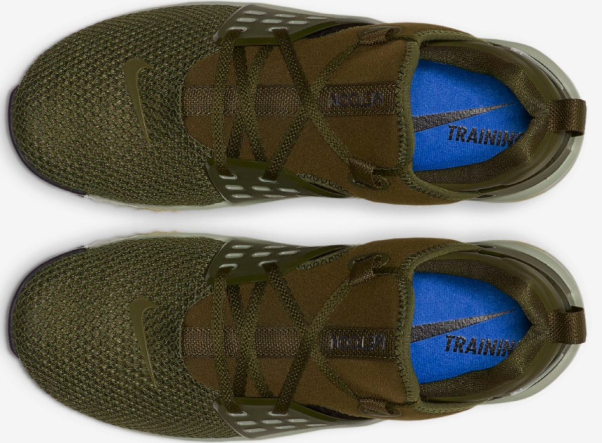 aerial view of Nike Men's Free X Metcon 2 Training Shoes olive shoes