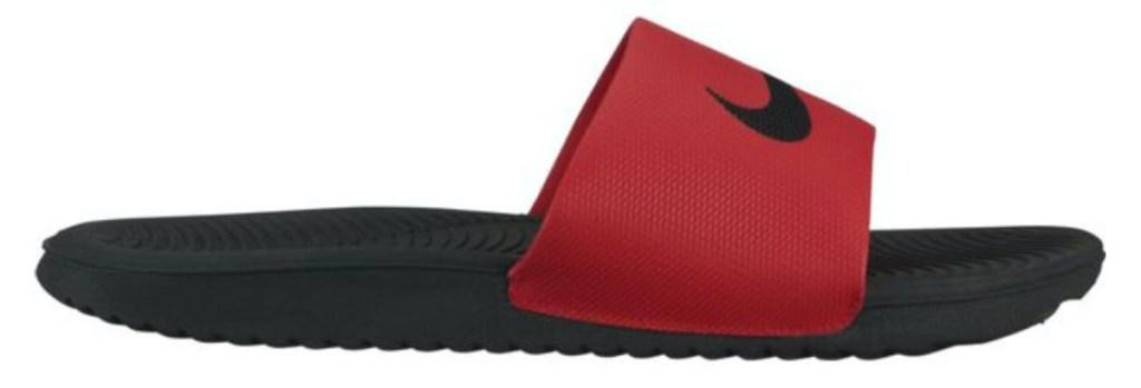 men's red and black slide sandal