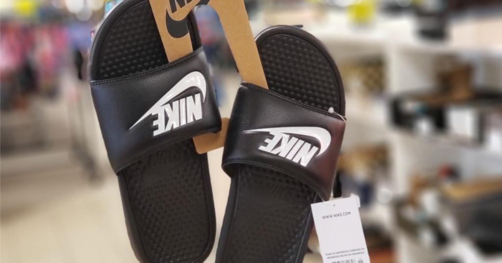 black and white slide sandals in store