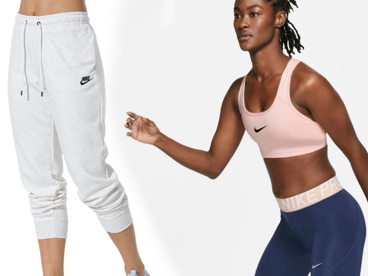 Woman wearing gray Nike sweatpants with a woman wearing a pink Nike sports bra