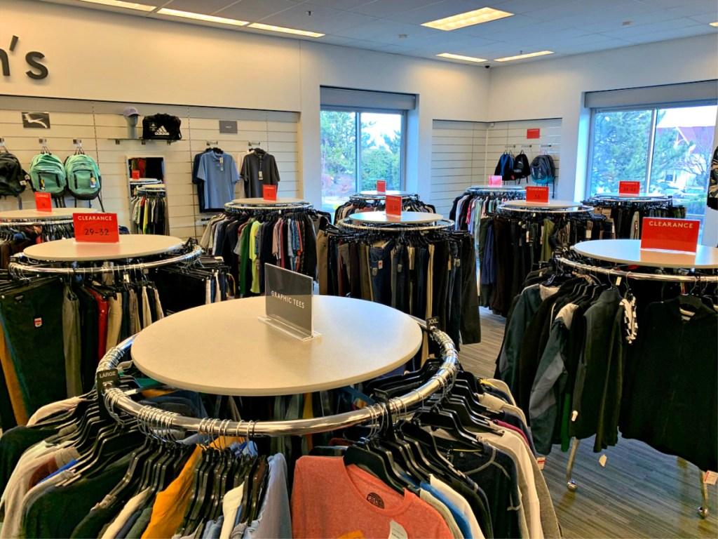 Nordstrom Rack Men's clothing on racks in store