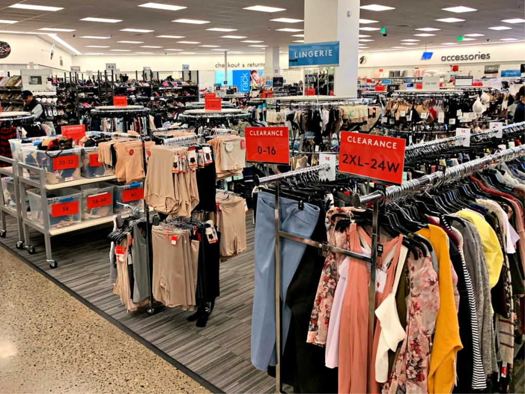 Nordstrom Rack women's clothing on racks in store