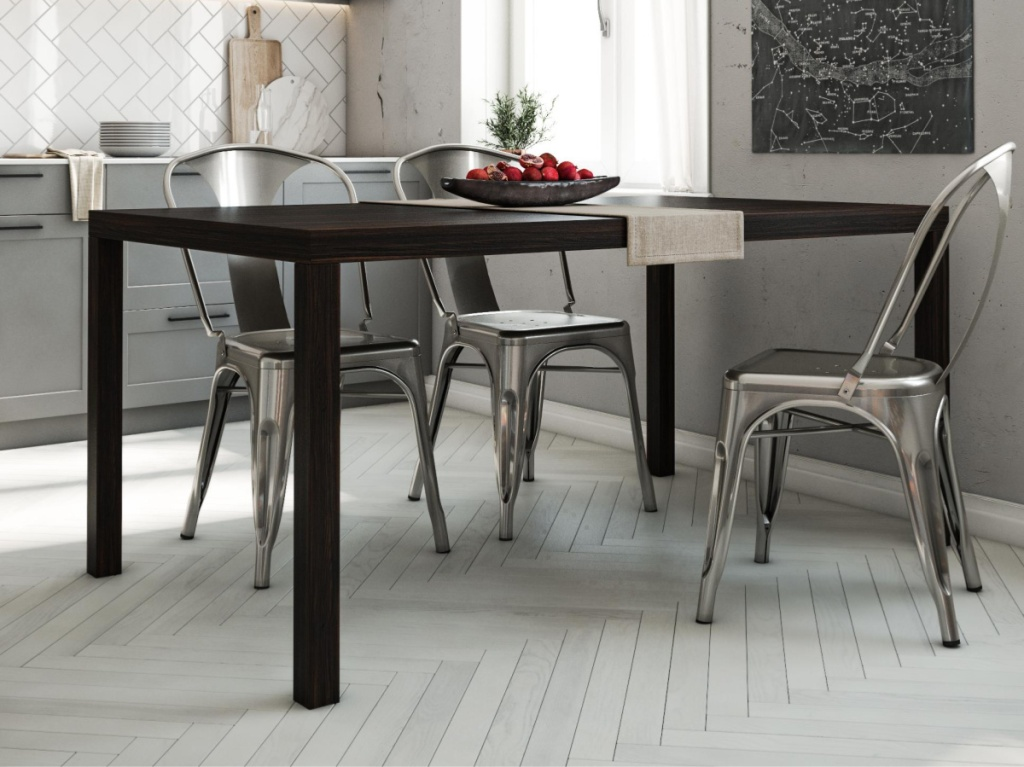black dining room table in home