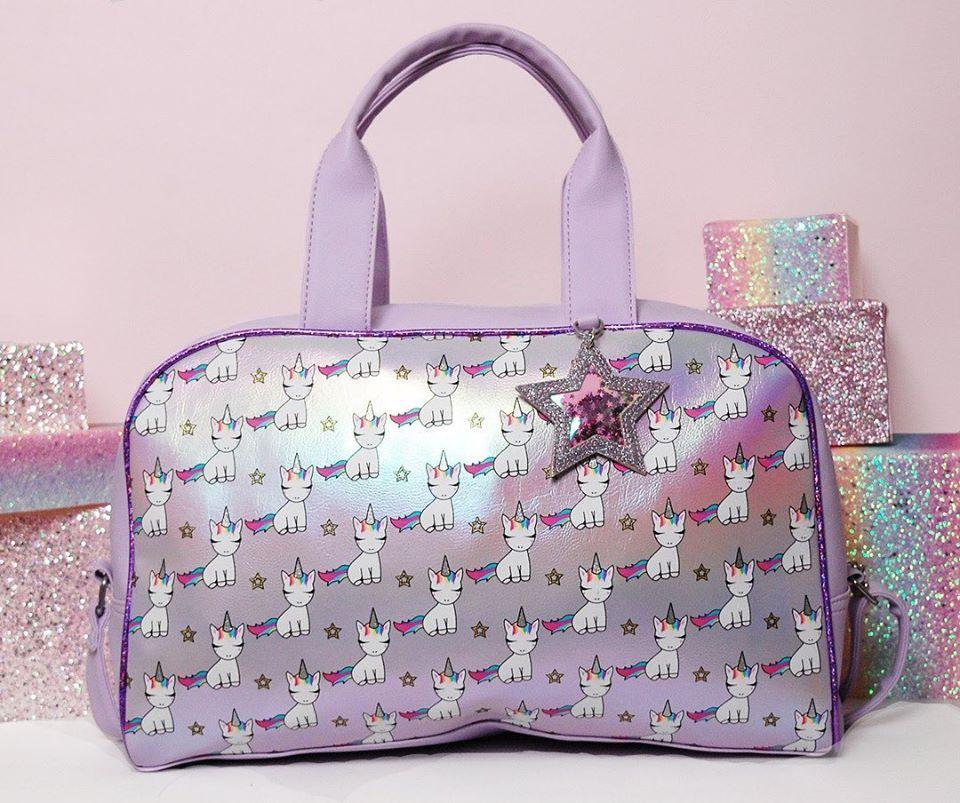 duffel bag with unicorns on it