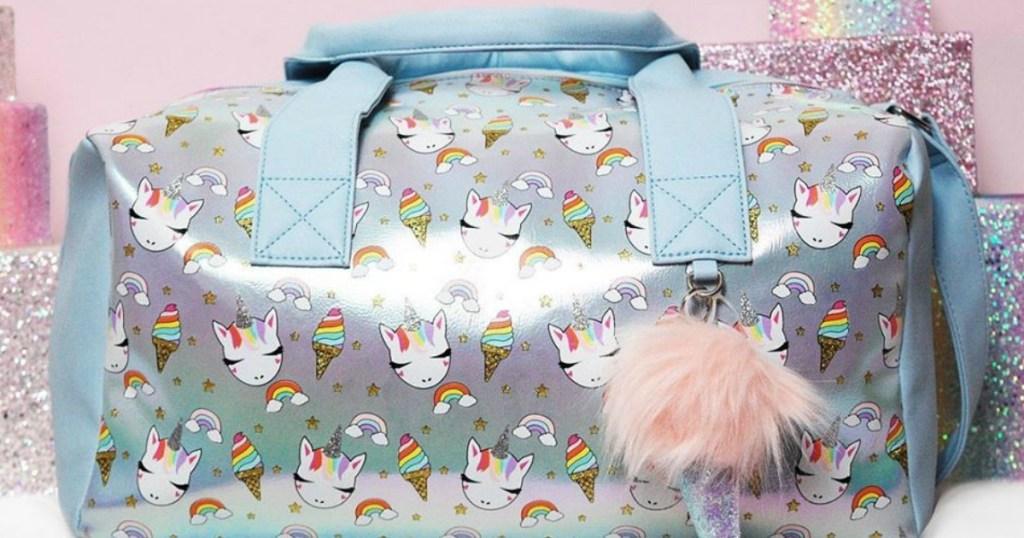 duffel bag with unicorns and ice cream cones on it