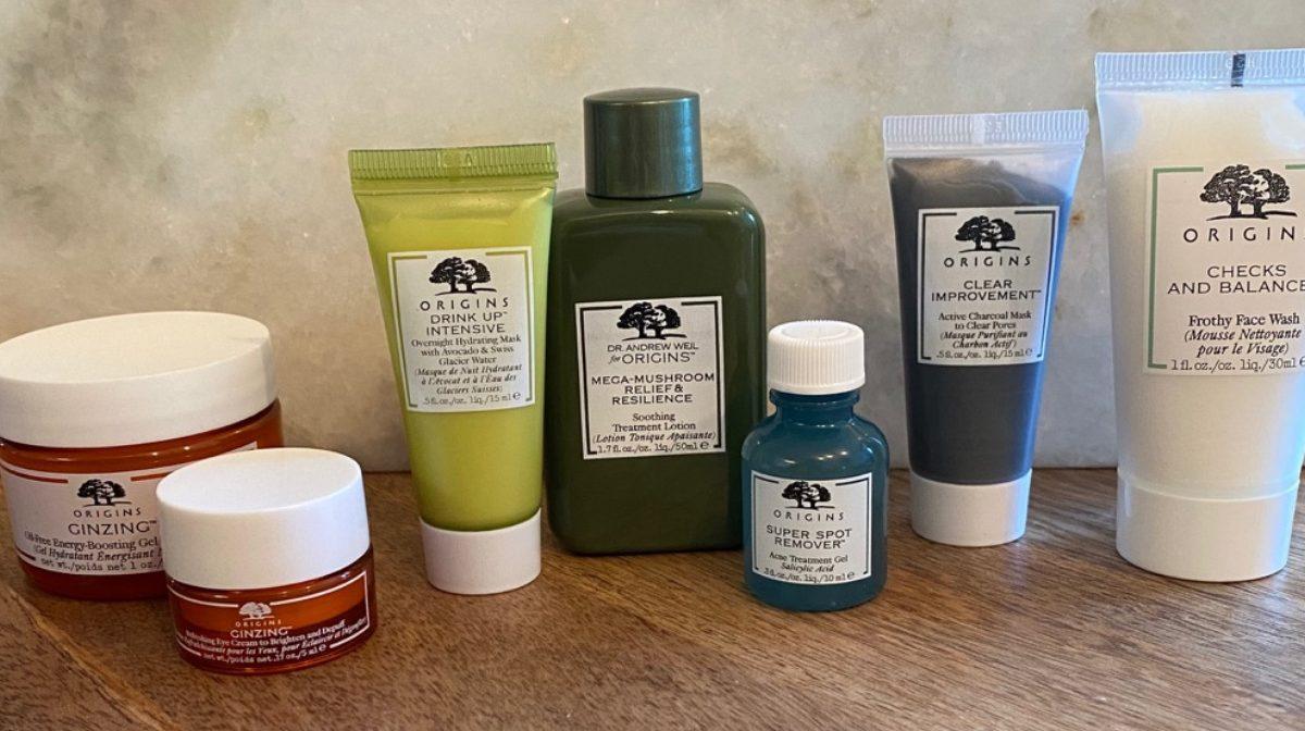 skincare set on table
