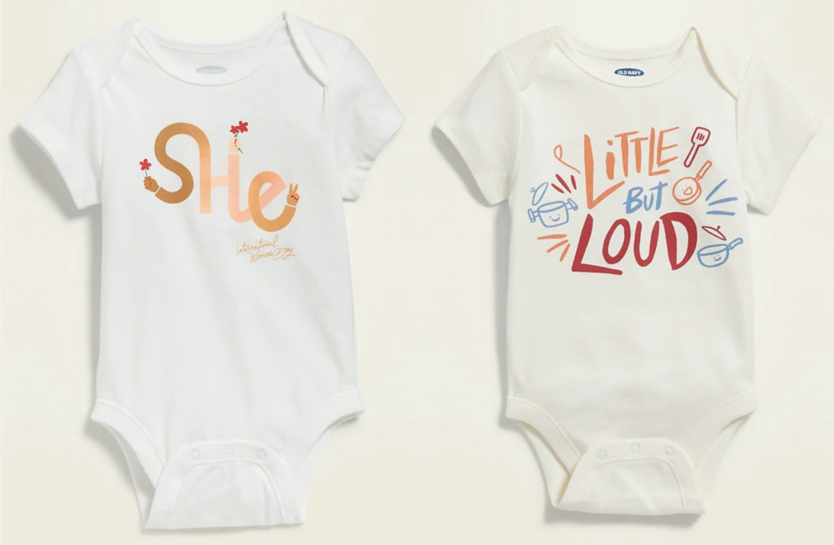 two baby bodysuits