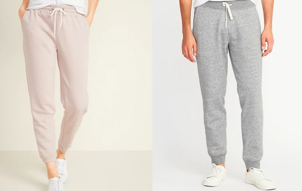woman and man wearing jogger pants