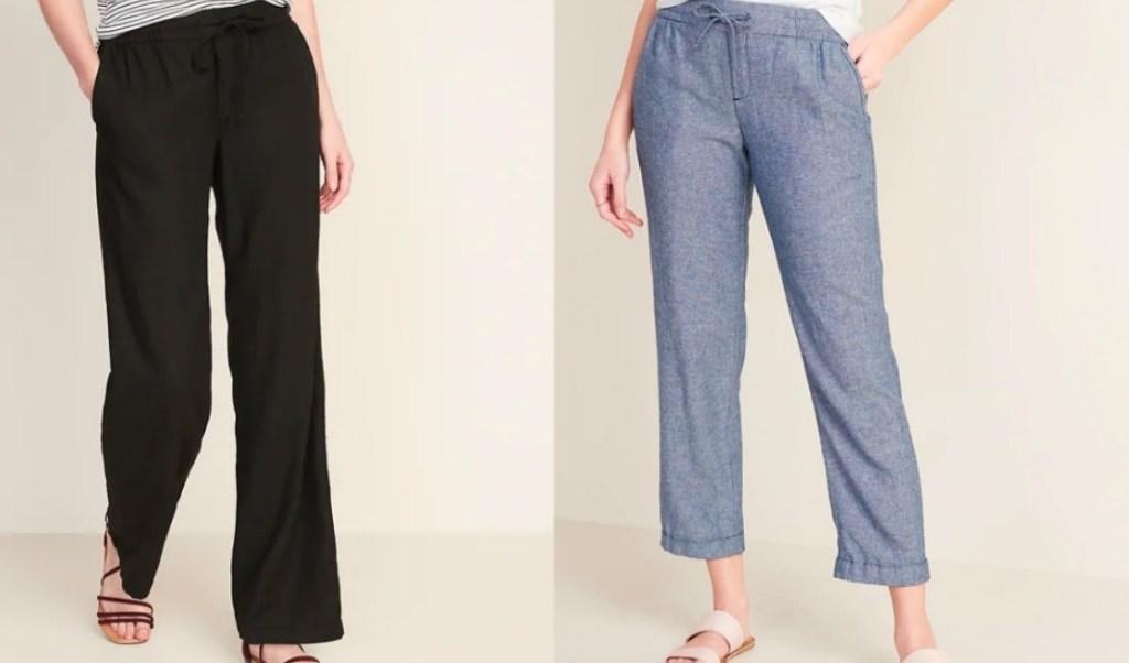 two women wearing pants