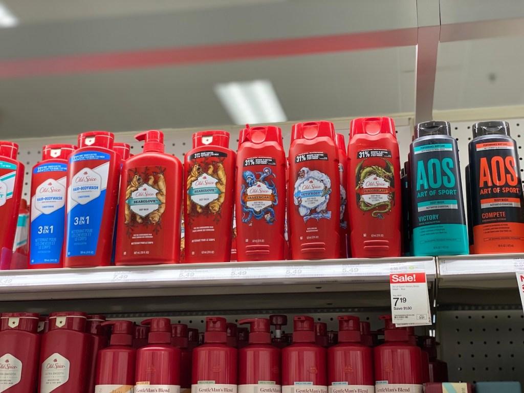 Old Spice Body Wash on Target shelf